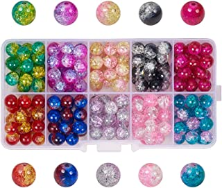 PH PandaHall 200pcs 10 Color Crackle Lampwork Glass Beads Round Handcrafted Crackle Beads Assortment Lot for Jewelry Making Craft (8mm, Hole: 1.3mm)