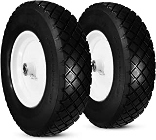 "Sponsored Ad - Greneric Two New Solid Knobby 4.80/4.00-8"" Flat-Free Tire Wheelbarrow/Cart Universal 16"" with Steel Rim, Bo..."