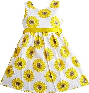 Sunny Fashion Girls Dress Blue Flower Print Children Clothing Size 2-10 Years