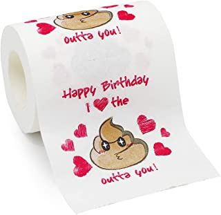 Bravo Sport Happy Birthday Novelty Toilet Paper,Funny Bithday Gag Gift for Men or Women, I Love The Shit Out of You Toilet Paper