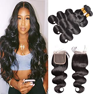GEM Beauty Brazilian Virgin Body Wave Hair With Closure Unprocessed Human Hair With Closure Body Wave 3 Bundles With Lace Closure 1B 14 with 16 18 20 inch