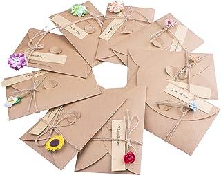 ZeWoo Tarjeta de Felicitación, Papel Kraft Retro Hecho a Mano, Sobres en Blanco, Flores Secadas Postal Decorada para Persona Especial y Ocasión Importante