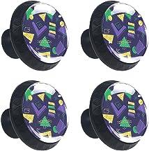 4 stks Kabinet Knoppen Lade Dressoir Handvatten Groen Paars Goud Geometrisch Patroon voor Kamer, Keuken, Kantoor en Badkamer