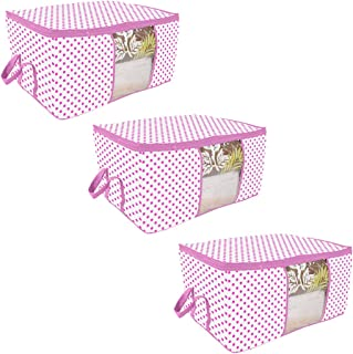 PrettyKrafts Underbed Storage Bag, Storage Organizer, Blanket Cover with Side Handles (Set of 3 pcs) - Pink Dots