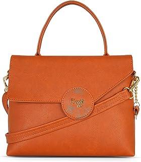 Baggit Spring-Summer 2021 Faux Leather Women's Satchel Handbag (Orange) (Presley)