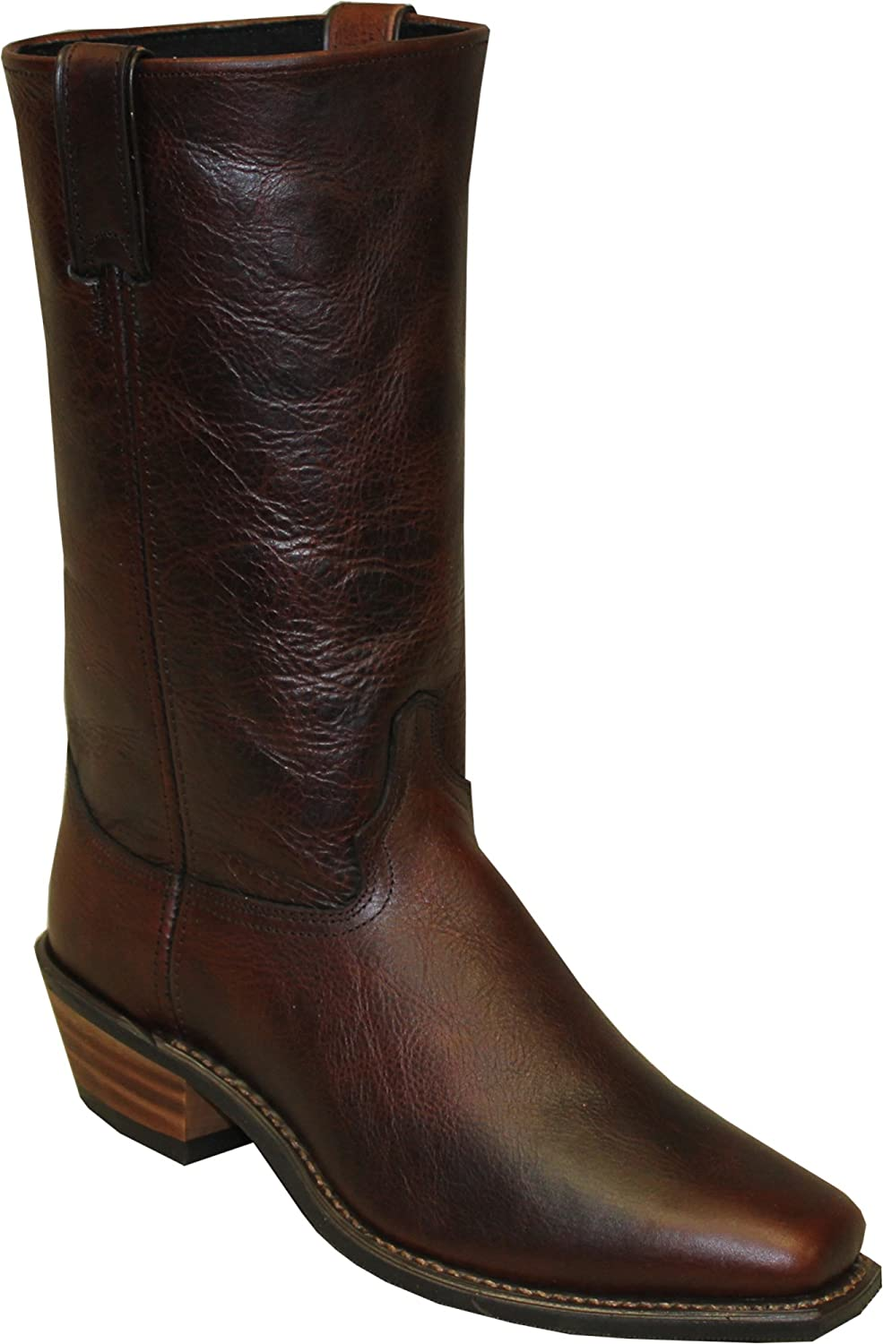 Abilene Mens Antiqued Brown Leather 12in Stovepipe Cowboy Boots
