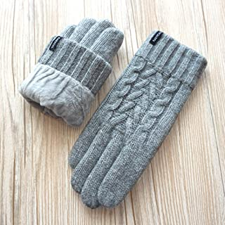 Cashmere Gloves Ladies Pure Wool Cashmere Wool Knit Warm Double Layer Plus Velvet Thick Touch Screen Gloves HYBKY (Color : Gray)