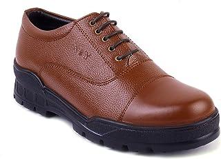 XY HUGO 1009 SF Men's Tan Leather Police Derby Shoe-8 (10) Tan