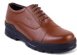 XY HUGO Men's 10009 SF Police Derby Tan Leather Shoe -9 UK