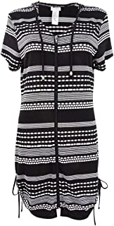 Dotti Women's Plus Size Ibiza Stripe Side Shirred Hoodie Tunic Cover-Up