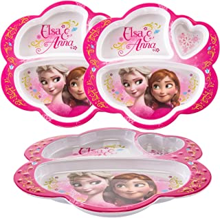 Zak! (3 Pack) Disney Frozen Anna & Elsa Character, BPA-Free Plastic 3-Section Divided Kids Plates, Lunch Trays For Breakfast & Dinner
