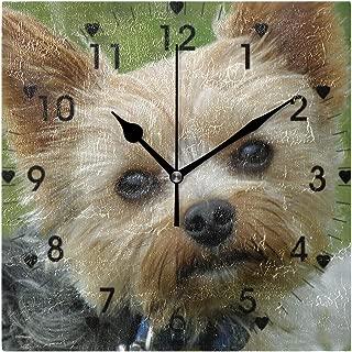 Mikaかわいいヨークシャーテリア 壁掛け時計 掛け時計 四角 置時計 置き時計 壁掛け スクエア インテリア リビング ダイニング カフェ