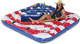 Intex American Flag Inflatable 2 Person Pool Tube Float with Cup Holders