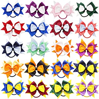 20PCS 4.5Inch Hair Bows Ties Large Big Grosgrain Ribbon Bows Elatic Hair Bands Ponytail Holder for Toddlers Kids Children Grils Cheerleading