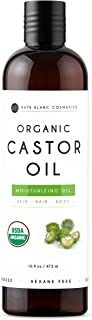 Organic Castor Oil 16oz by Kate Blanc. Cold-Pressed, 100% Pure, Hexane-Free. Promote Growth for Hair, Eyelashes, Eyebrows. Moisturizing For Dry Skin and Body. 1-Year Warranty.