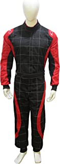 Adult Go Kart Karting Suit Race Rally suits Poly cotton One Piece Karting Suit (Black & Red, XXX-Large)