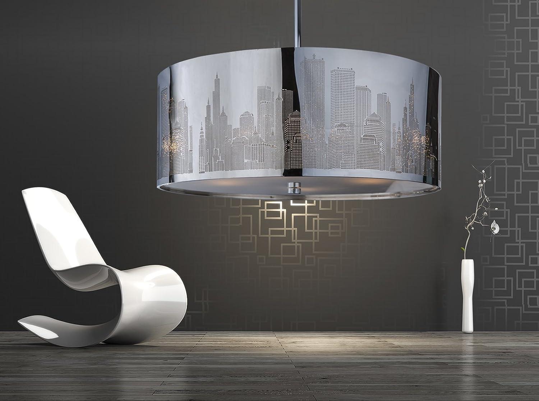 XXL Skyline Luxus Hngelampe  Hngeleuchte New York  Deckenlampe  Lampe 50cm  Lounge  Wohnzimmer  Esszimmer  Schlafzimmer  Chrom  dimmbar  LED geeignet 4x E27 Fassung