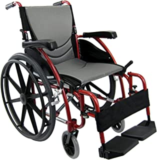 Karman Ergonomic Wheelchair in 18 inch Seat and Mag Wheels, Red Frame
