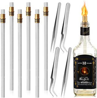 Nuanchu Wine Bottle Torch Wicks Kit Includes 6 Pieces Brass Torch Wick Holders with Washer, 6 Pieces Fiberglass Replacemen...