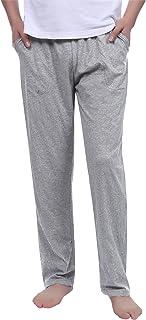 Aibrou Mens Pyjama Bottoms Plain 100% Cotton Casual Soft Long Lounge Pants PJS Trousers with Pockets