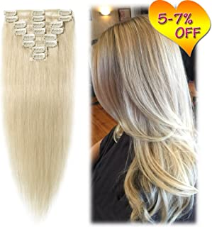 3-5 Days Delivery 16'' Clip in Hair Extensions Remy Human Hair For Women Full Head Light 8pcs 18 Clips 65g Silky Straight Soft Hair- Platinum Blonde #60