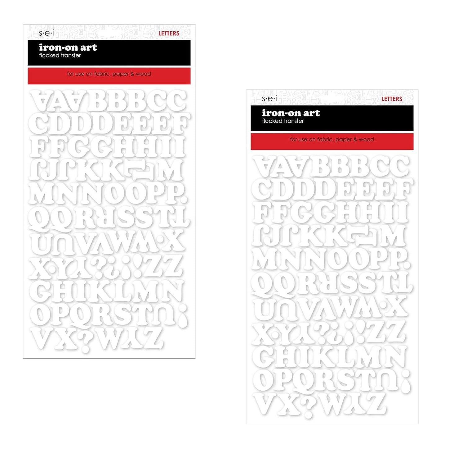 SEI-3/4-Inch Chunky Letter Iron on Transfer, White, 1 Sheet (2 pack)