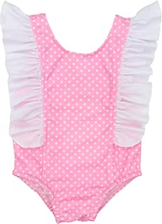 Baby Girl Swimsuit Ruffled Polka Dots Bowknot Back Decor Bikini Swimwear One-Piece