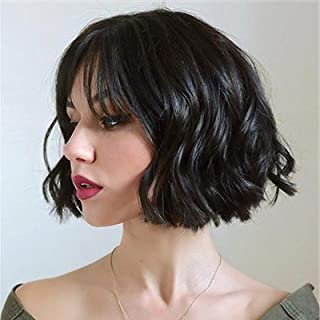 Stamped Glorious Short Wavy Wigs with Bangs Synthetic Black Bob Wig Bangs Shoulder Length Wigs for Women Natural Looking H...