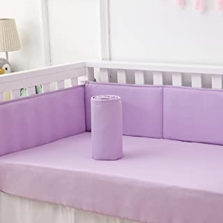 Belsden Baby Breathable Crib Bumper Pads for Boy and Girl, Machine Washable 4 Pieces Separated Workmanship Fits Standard Cribs Well, Soft Smooth Microfiber Fabric, Light Purple