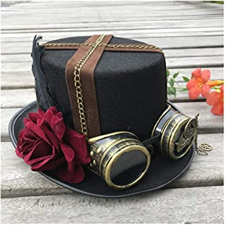 SHENTIANWEI Women Fashion High-end Handmade Steampunk Top Hat with Gear Glasses Magic Hat Top Hat Cosplay Hat Size 57CM