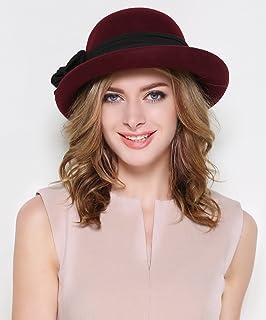 蒂芙莎 秋冬季羊毛呢礼帽女士冬天羊毛帽子圆顶 双层卷边丸子毡帽