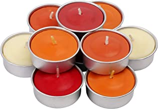 Exquizite Fall Scented Tealights Gift Set - 64 pcs - Set of 16 Highly Scented Luxury Tealight Candles with 4 Autumn Fragrances - Pumpkin Spice with Nutmeg, Orange Clove, Raspberry and Eucalyptus