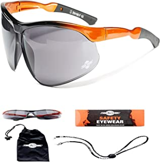 ToolFreak-Agent Work and Sports Safety Glasses ,Dark Smoke Tinted Wraparound Lenses with UV & Impact Protection | Anti Glare with Fog and Scratch Reduction