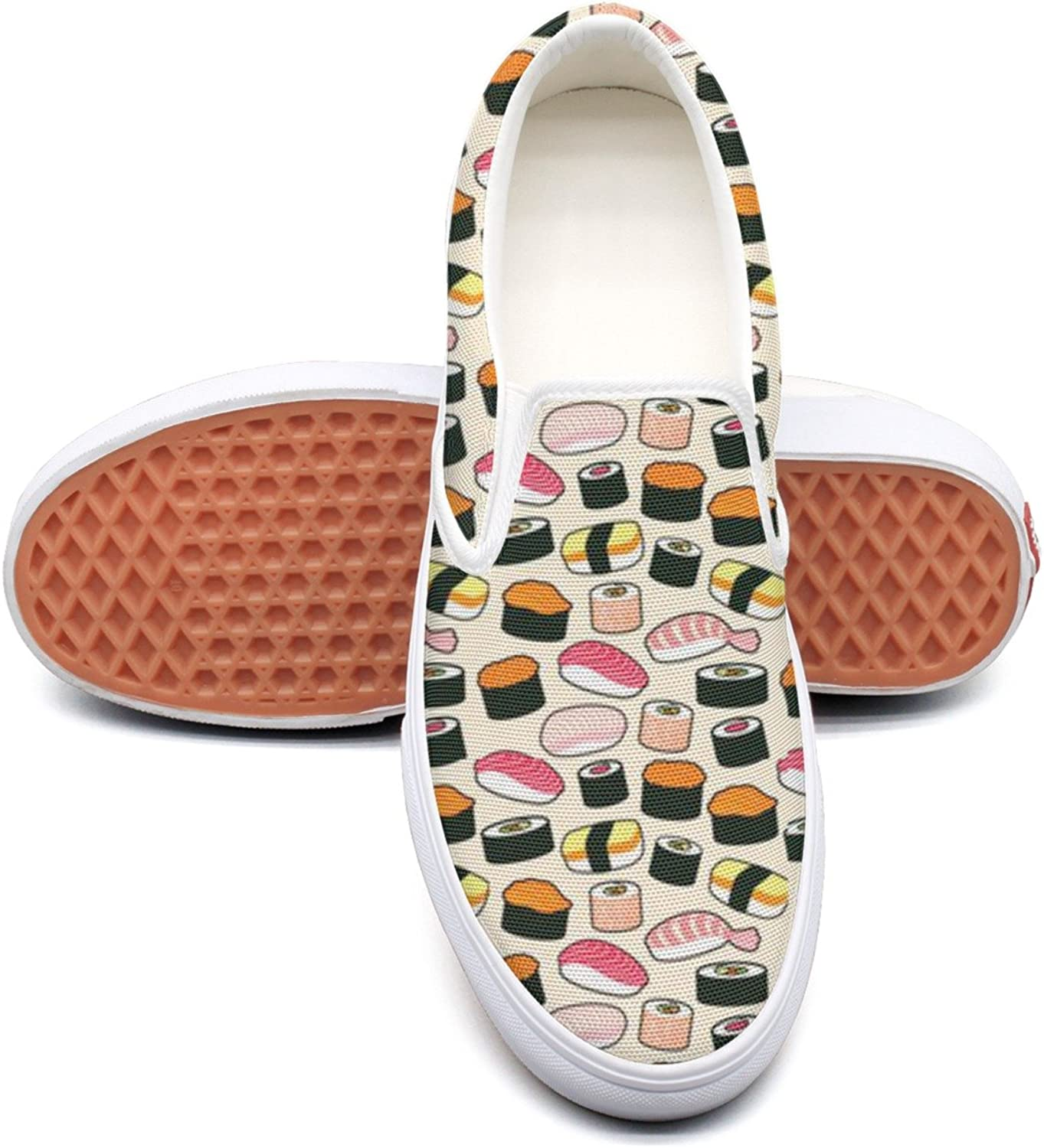 RegiDreae Canvas Slip On Sneakers for Women Clipart Sushi Fashion Sneaker
