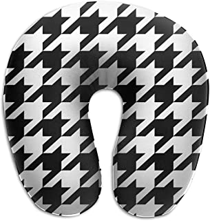 BRECKSUCH Black & White Prints Houndstooth Print U Shaped Pillow Memory Foam Neck Pillow for Travel and Relief Neck Pain Fashion Super Soft Cervical Pillows with Resilient Material Relex Pollow