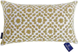 Decorative Pillows Cover Mustard Gold Lumbar Pillow Cushion Cover Dark Yellow Ochre Color Trellis Mina 1 pc Throw Pillow Case, Pure Cotton Canvas 12x20 inch (30x50cm)