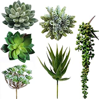 Winlyn 6 Pcs Unpotted Fake Succulents Assorted Faux Succulent in Different Green Artificial Hanging Succulents Textured Fa...