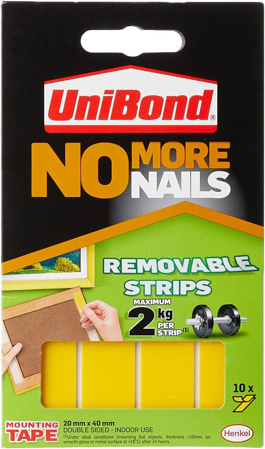 Unibond UNI781739 No More Nails Strip Ultra fuerte Extraíble Translúcido - 1 Paquete con 10 bandas