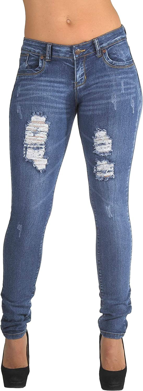 Plus Size Classic Ripped OFFer Skinny Jeans Destroyed Distressed Denver Mall