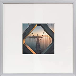 Frametory, 8x8 Aluminum Silver Picture Frame - Metal Instagram Picture Frame - Matted to Fit Pictures 4x4 Inches or 8x8 Without Mat