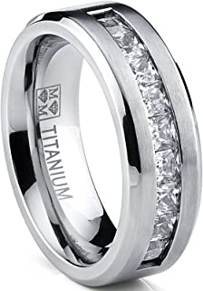 Metal Masters Co. Titanium Men's Wedding Band Engagement Ring with 9 Large Princess Cut Cubic Zirconia
