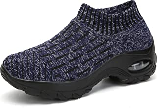 ZYEN Women's Breathe Walking Shoes Comfort Slip On Loafers Fashion Mesh Platform Sneakers