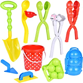 FUN LITTLE TOYS 11Pcs Snowball Maker Tools with Handle for Kids and Adults Snow Ball..