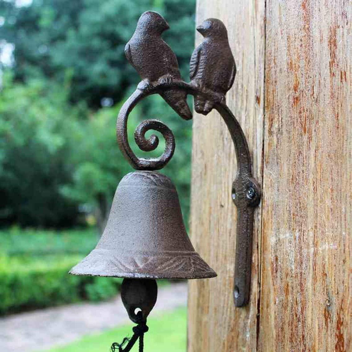 JTQMDD Love Bird Timbre de Hierro Forjado País Americano Jardín Vintage Hierro Campana Hierro Fundido Campana Hecha A Mano Jardín Timbre de la Puerta 9.5x15x23cm Timbre de la Puerta de Hierro Fundido: