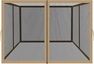 BenefitUSA Replacement Mosquito Netting for 10' x 10' or 8' x 8' Gazebo, Zippered Mesh Sidewalls Only, Pack of 4 (10' L X 6.4' W for 10' x 10' Gazebo, Tan)
