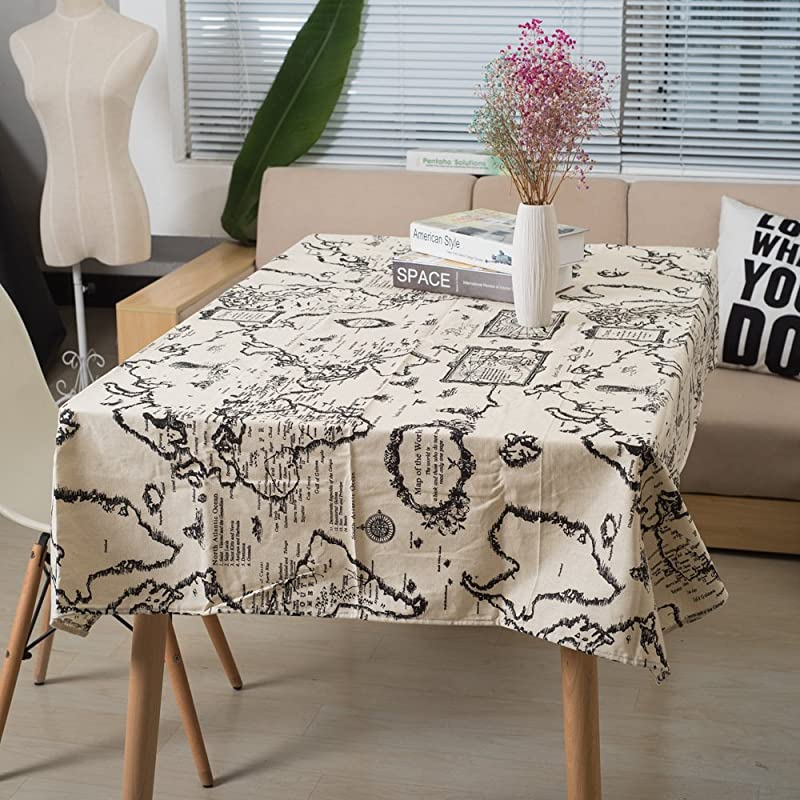 Ogrmar 55 X100 Artical Decrative Linens Tablecloths Picnic Burlap Tablecloth With World Map For Rectangle Desk Of Bedroom And Kitchen Shown