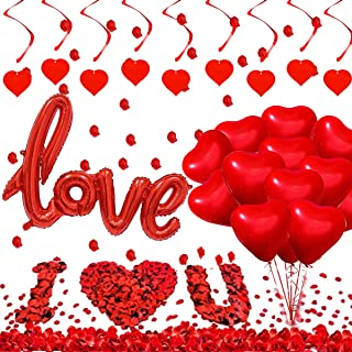 Valentine's Day Balloons Decoration Kit-1000 Rose Petals Red Heart Balloons Foil Love Balloons and Hanging Heart Swirls fo...