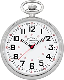 Gotham Men's Silver-Tone Mechanical Hand Wind Railroad Pocket Watch # GWC14100S