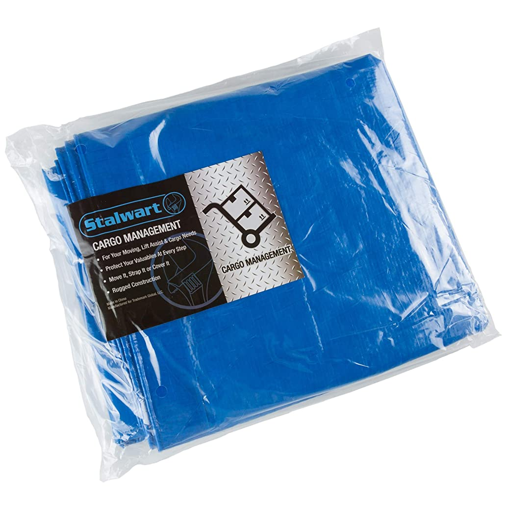 Stalwart Outdoor Multi Use Tarp -  Durable Tear Resistant Blue Multipurpose Reusable Tarp for Hunting, Dry Storage, Protection sle7496565