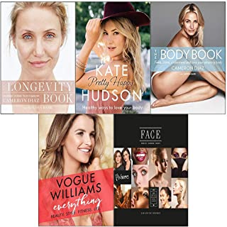 5 Books collection set (the body book ,the longevity book,everything beauty style[hardcover], face[hardcover] and pretty happy books)